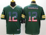 Wholesale Nike Packers #12 Aaron Rodgers Green Team Color Men's Stitched NFL Elite USA Flag Fashion Jersey