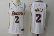 Wholesale Cheap Nike Los Angeles Lakers #2 Lonzo Ball White Nike Stitched NBA Jersey