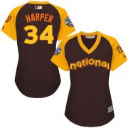 Wholesale Nationals #34 Bryce Harper Brown 2016 All-Star National League Women's Stitched Baseball Jersey