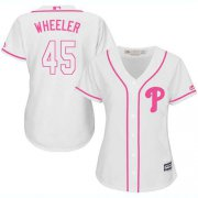 Wholesale Cheap Phillies #45 Zack Wheeler White/Pink Fashion Women's Stitched MLB Jersey