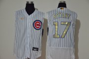 Wholesale Cheap Men's Chicago Cubs #17 Kris Bryant White Gold 2020 Cool and Refreshing Sleeveless Fan Stitched Flex Nike Jersey
