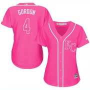 Wholesale Cheap Royals #4 Alex Gordon Pink Fashion Women's Stitched MLB Jersey