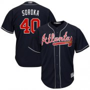 Wholesale Cheap Braves #40 Mike Soroka Navy Blue New Cool Base Stitched Youth MLB Jersey