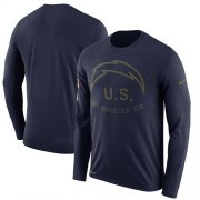 Wholesale Cheap Men's Los Angeles Chargers Nike Navy Salute to Service Sideline Legend Performance Long Sleeve T-Shirt