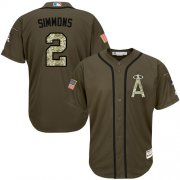 Wholesale Cheap Angels of Anaheim #2 Andrelton Simmons Green Salute to Service Stitched MLB Jersey