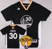 Wholesale Cheap Men's Golden State Warriors #30 Stephen Curry Black Short-Sleeved 2017 The NBA Finals Patch Jersey