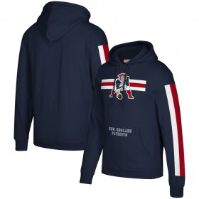 Wholesale Cheap New England Patriots Mitchell & Ness Three Stripe Pullover Hoodie Royal