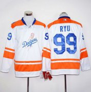Wholesale Cheap Dodgers #99 Hyun-Jin Ryu White/Orange Long Sleeve Stitched MLB Jersey