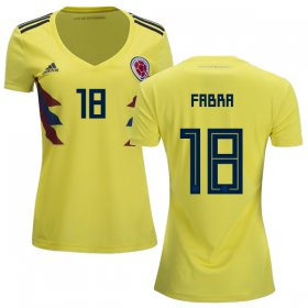 Wholesale Cheap Women\'s Colombia #18 Fabra Home Soccer Country Jersey