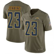 Wholesale Cheap Nike Chargers #23 Rayshawn Jenkins Olive Men's Stitched NFL Limited 2017 Salute To Service Jersey