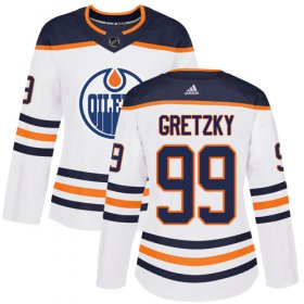 Wholesale Cheap Adidas Oilers #99 Wayne Gretzky White Road Authentic Women\'s Stitched NHL Jersey