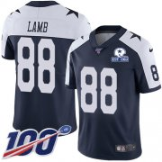 Wholesale Cheap Nike Cowboys #88 CeeDee Lamb Navy Blue Thanksgiving Men's Stitched With Established In 1960 Patch NFL 100th Season Vapor Untouchable Limited Throwback Jersey