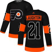 Wholesale Cheap Adidas Flyers #21 Scott Laughton Black Alternate Authentic Stitched NHL Jersey