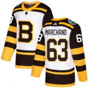 Wholesale Cheap Adidas Bruins #63 Brad Marchand White Authentic 2019 Winter Classic Youth Stitched NHL Jersey