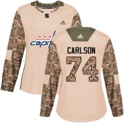 Wholesale Cheap Adidas Capitals #74 John Carlson Camo Authentic 2017 Veterans Day Women's Stitched NHL Jersey