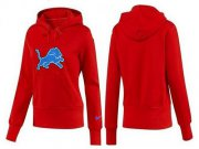 Wholesale Cheap Women's Detroit Lions Logo Pullover Hoodie Red