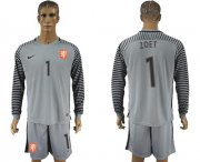 Wholesale Cheap Holland #1 Zoet Grey Goalkeeper Long Sleeves Soccer Country Jersey