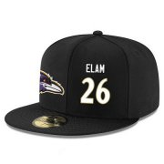 Wholesale Cheap Baltimore Ravens #26 Matt Elam Snapback Cap NFL Player Black with White Number Stitched Hat