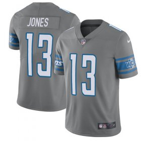 Wholesale Cheap Nike Lions #13 T.J. Jones Gray Youth Stitched NFL Limited Rush Jersey
