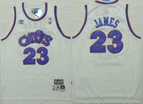 Wholesale Cheap Cleveland Cavaliers #23 LeBron James CavFanatic White With Blue Swingman Throwback Jersey