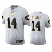 Wholesale Cheap New York Jets #14 Sam Darnold Men's Nike White Golden Edition Vapor Limited NFL 100 Jersey