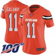 Wholesale Cheap Nike Browns #11 Antonio Callaway Orange Alternate Women's Stitched NFL 100th Season Vapor Limited Jersey
