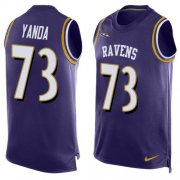 Wholesale Cheap Nike Ravens #73 Marshal Yanda Purple Team Color Men's Stitched NFL Limited Tank Top Jersey