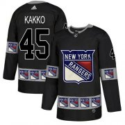 Wholesale Cheap Adidas Rangers #45 Kappo Kakko Black Authentic Team Logo Fashion Stitched NHL Jersey