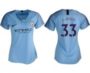 Wholesale Cheap Women's Manchester City #33 G.Jesus Home Soccer Club Jersey