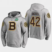Wholesale Cheap Bruins #42 David Backes Gray 2018 Winter Classic Fanatics Primary Logo Hoodie