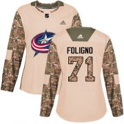 Wholesale Cheap Adidas Blue Jackets #71 Nick Foligno Camo Authentic 2017 Veterans Day Women's Stitched NHL Jersey