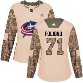 Wholesale Cheap Adidas Blue Jackets #71 Nick Foligno Camo Authentic 2017 Veterans Day Women\'s Stitched NHL Jersey
