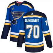 Wholesale Cheap Adidas Blues #70 Oskar Sundqvist Blue Home Authentic 2019 Stanley Cup Champions Stitched NHL Jersey