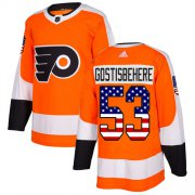 Wholesale Cheap Adidas Flyers #53 Shayne Gostisbehere Orange Home Authentic USA Flag Stitched Youth NHL Jersey