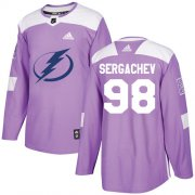 Wholesale Cheap Adidas Lightning #98 Mikhail Sergachev Purple Authentic Fights Cancer Stitched Youth NHL Jersey