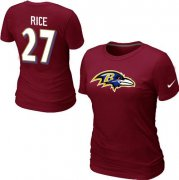 Wholesale Cheap Women's Nike Baltimore Ravens #27 Ray Rice Name & Number T-Shirt Red