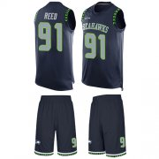 Wholesale Cheap Nike Seahawks #91 Jarran Reed Steel Blue Team Color Men's Stitched NFL Limited Tank Top Suit Jersey
