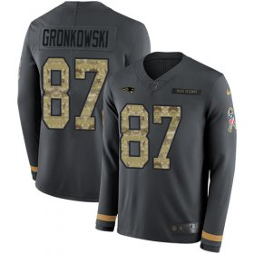 Wholesale Cheap Nike Patriots #87 Rob Gronkowski Anthracite Salute to Service Men\'s Stitched NFL Limited Therma Long Sleeve Jersey