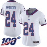 Wholesale Cheap Nike Giants #24 James Bradberry White Women's Stitched NFL Limited Rush 100th Season Jersey