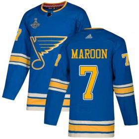 Wholesale Cheap Adidas Blues #7 Patrick Maroon Blue Alternate Authentic 2019 Stanley Cup Champions Stitched NHL Jersey