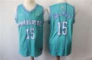 Wholesale Cheap Nike Hornets 15 Kemba Walker Aqua NBA Jordan Throwback Swingman Jersey