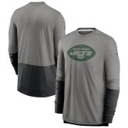Wholesale Cheap New York Jets Nike Sideline Player Performance Long Sleeve T-Shirt Heathered Gray Charcoal