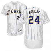 Wholesale Cheap Brewers #24 Jesus Aguilar White Strip Flexbase Authentic Collection Stitched MLB Jersey