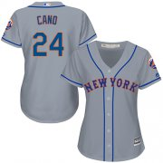 Wholesale Cheap Mets #24 Robinson Cano Grey Road Women's Stitched MLB Jersey