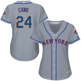 Wholesale Cheap Mets #24 Robinson Cano Grey Road Women\'s Stitched MLB Jersey