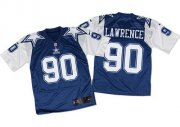 Wholesale Cheap Nike Cowboys #90 Demarcus Lawrence Navy Blue/White Throwback Men's Stitched NFL Elite Jersey
