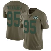 Wholesale Cheap Nike Jets #95 Quinnen Williams Olive Men's Stitched NFL Limited 2017 Salute To Service Jersey