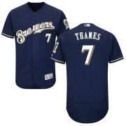 Wholesale Cheap Brewers #7 Eric Thames Navy Blue Flexbase Authentic Collection Stitched MLB Jersey