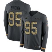 Wholesale Cheap Nike Panthers #95 Derrick Brown Anthracite Salute to Service Youth Stitched NFL Limited Therma Long Sleeve Jersey