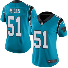 Wholesale Cheap Nike Panthers #51 Sam Mills Blue Women\'s Stitched NFL Limited Rush Jersey